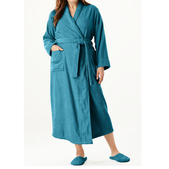Woman Within Other - nwt Terry spa ROBE & Slipper set 3X 30/32 Lagoon